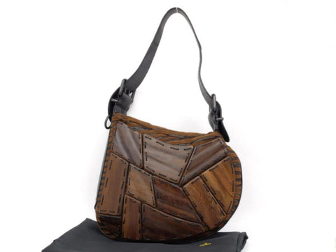Fendi Wooden Patchwork Kidney Bean Hobo 230998 Brown Wool Shoulder Bag