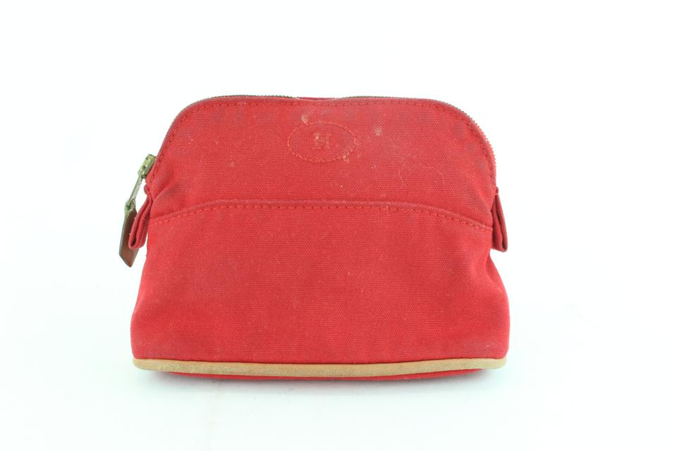 Hermès Bolide Toiletry Pouch 10hz1126 Red Canvas Clutch