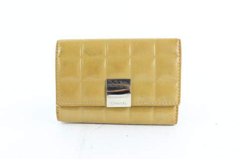 Chanel Yellow Quilted Patent Chocolate Bar Key Holder 26cz1220 Wallet