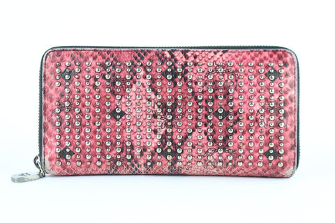 MCM Armour Visetos Monogram Studded Python Print Zip Around Wallet 231939 Pink Coated Canvas Clutch
