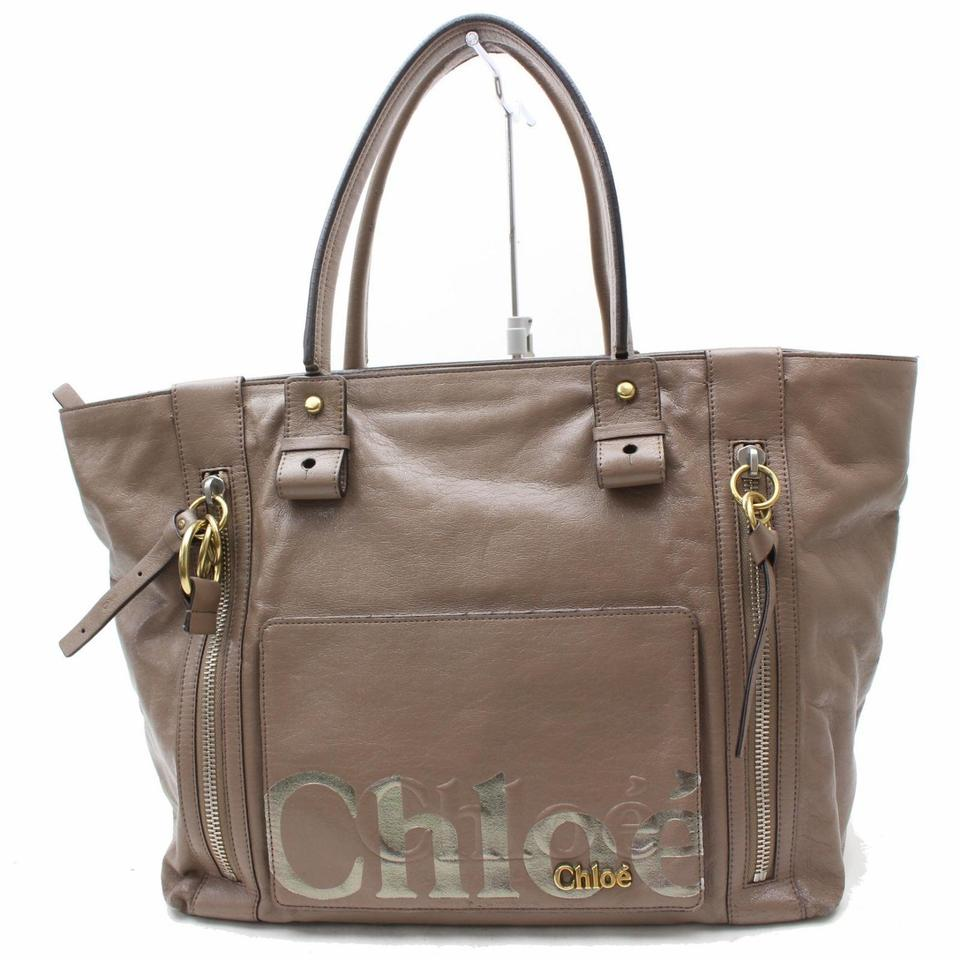 Chloé Large Zip Shopper Tote 869608 Brown Leather Shoulder Bag