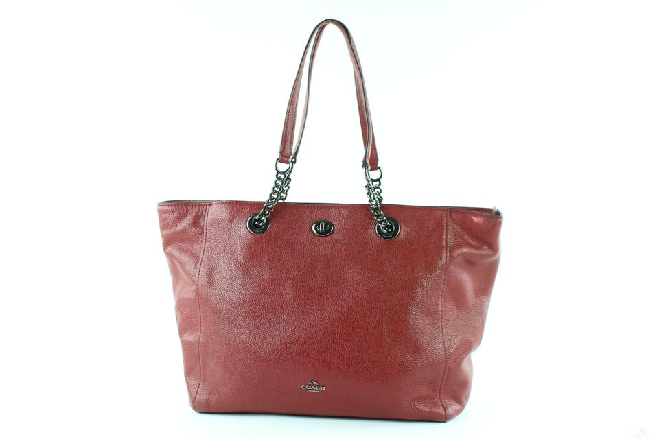 Coach Red Leather Turnlock Chain Tote 10COE0108