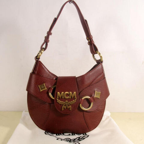 MCM Bordeaux-brown Hobo 869890 Brown Leather Satchel