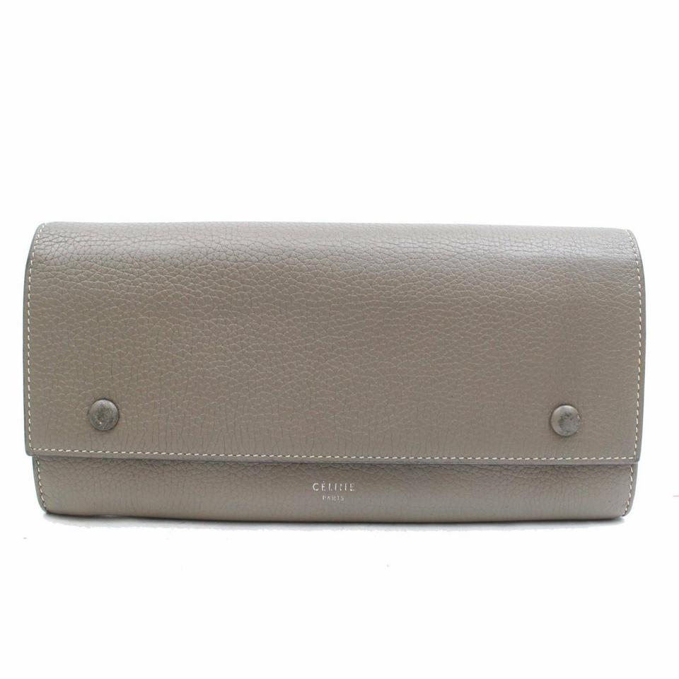 Céline Grey-Taupe Bicolor Yellow Bifold Snap Large Long Flap Wallet 870980