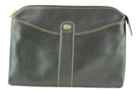 Alfred Dunhill Black Leather Pochette Zip Clutch Wristlet Pouch Bag 2DHL1127