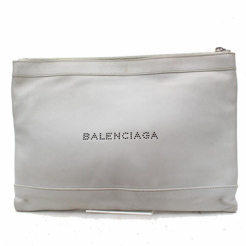 Balenciaga Light Everyday Zip Pouch 868540 Grey Leather Clutch