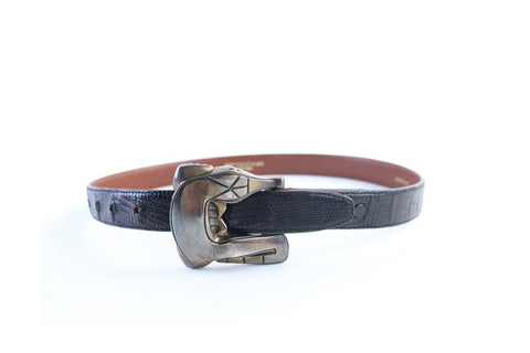 Barry Kieselstein-Cord Sterling Silver Alligator Buckle on Lizard Belt Strap 20MR0702