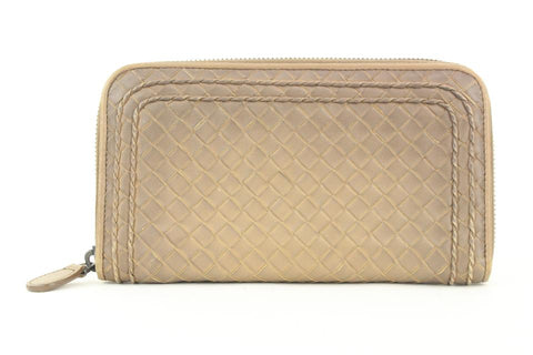 Bottega Veneta Beige Intrecciato Leather Continental Wallet Zip Around Zippy 861740