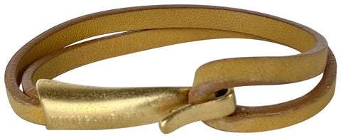 Bottega Veneta Gold Brown Hook Bracelet scuff Bangle 4misc613
