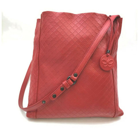 Bottega Veneta Quilted Red Leather Messenger Hobo 861217