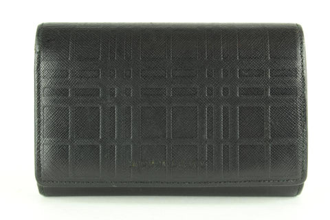 Burberry Black Nova Check Embossed Leather Trifold Wallet 11BUR1218