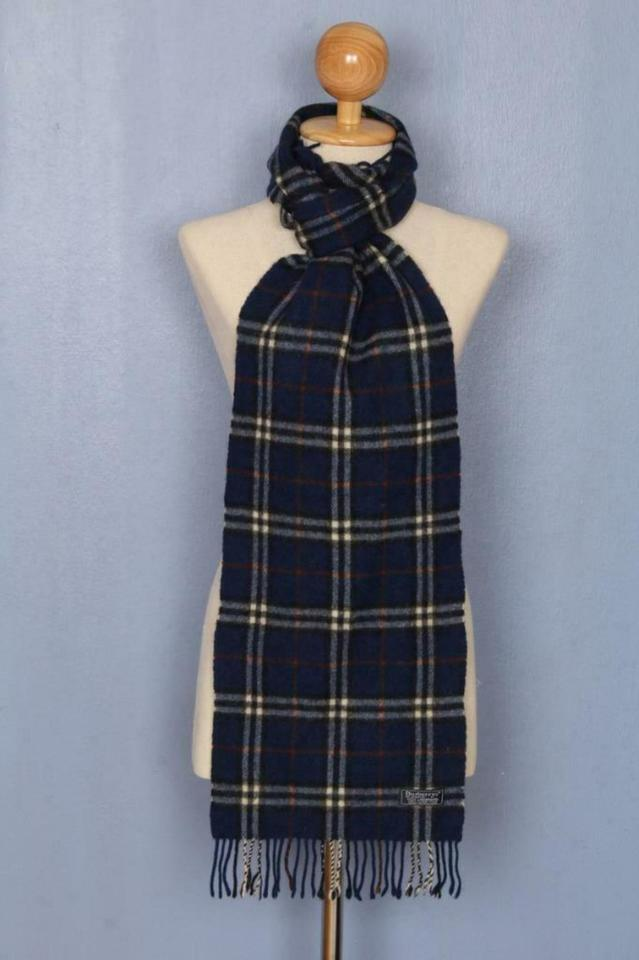 BURBERRY Navy Blue Nova Check Scarf 871930