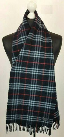 BURBERRY Navy Lambswool Classic Nova Check Scarf 871692