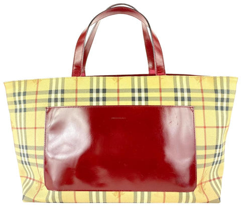 Burberry Nova Check Tote Red Shopper 4bur1019