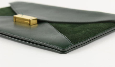 Céline Green Suede Diamond Envelope Clutch Bag 11CEL1211