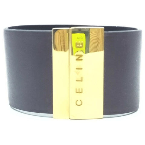 Celine Dark Brown Gold Logo Cuff Bracelet Bangle 861979