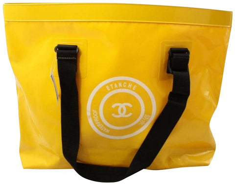 Chanel Large Yellow Waterproof Beach Tote Bag 862127
