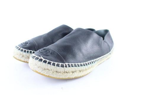 Chanel Black Leather Cap Toe Espadrilles 9cr0108 Flats