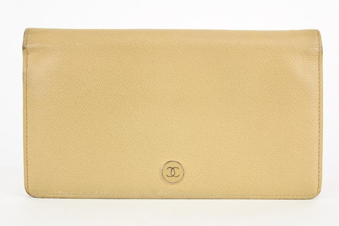 Chanel  Beige Leather CC Flap Wallet 12ccs1231