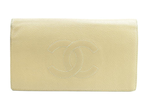 Chanel Beige CC Logo Caviar Flap Long Wallet 28CK1226