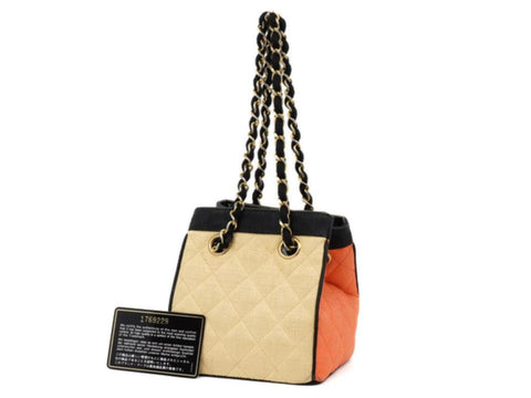 Chanel Bicolor Raffia Straw CC Logo Quilted Chain Basket Bag 858721