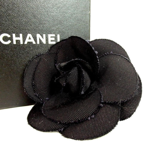 Chanel Black Camelia Flower Corsage Brooch Pin 860485