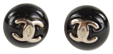 Chanel 06V Black CC Candy Pierced Earrings Pierce 10CCS1211