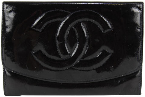 Chanel Black Patent CC Logo Flap Wallet 13ccs1231