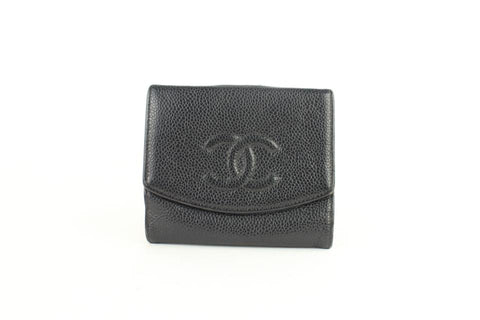Chanel Small Logo CC Caviar Coin Purse Square Compact Wallet 860005