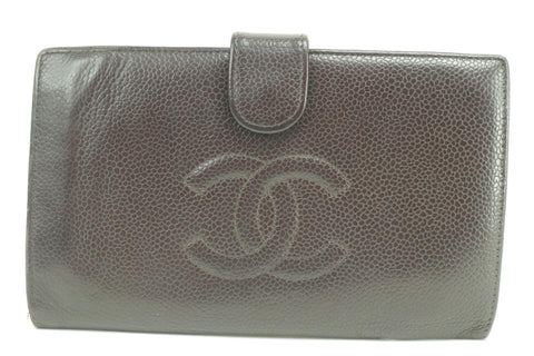Chanel Bordeaux Caviar CC logo Flap Long Wallet 857109