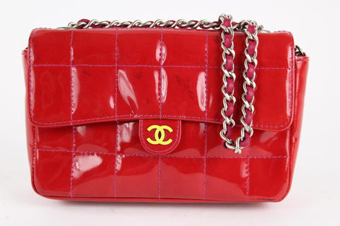 Chanel Red Patent Mini Classic Flap Silver Chain Bag 1ccs1228