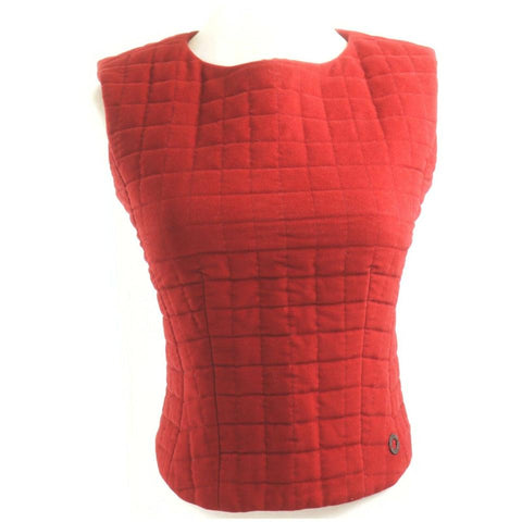 Chanel Red Quilted Vest Blouse 862773