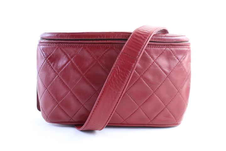 CHANEL Red Quilted Fanny Pack Waist Pouch 1CR0703