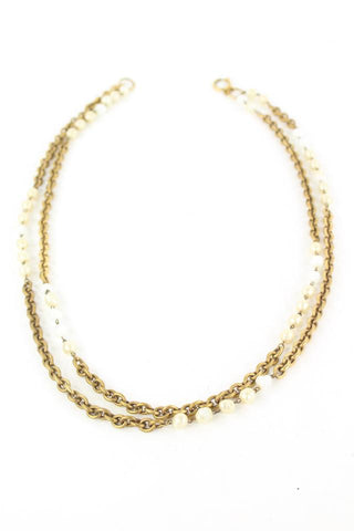 Chanel Gold Tone Pearl Necklace 862610