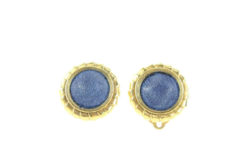 Chanel Ultra Rare Vintage Gold Sand Stone Blue Clip-On Earrings 98ccs127