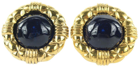 Chanel 2 3 Series Gold x Navy Blue Quilted Stone Earrings 857cas49