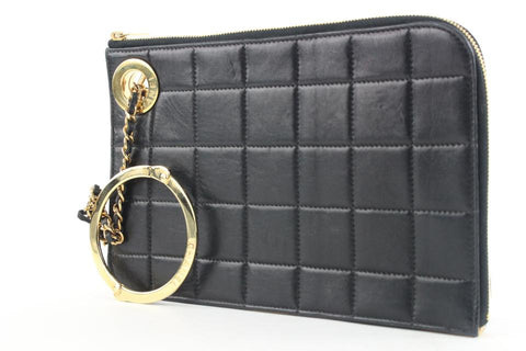 Chanel Black Lambskin Gold Handcuff Clutch Wristlet Pouch Bag 522cks38
