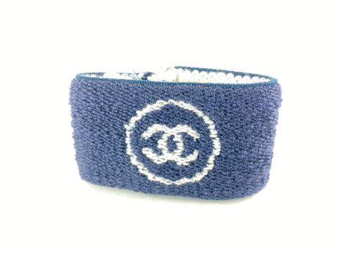 Chanel Navy Blue Wrist Band Sweat Bracelet Cuff Bangle CC Logo 124cc10
