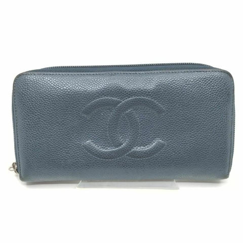 Chanel Navy Caviar Zippy Wallet Navy Blue Zip Around Wallet 858414