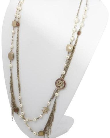 Chanel 11p Gold Pearl and Stone CC Charm Necklace 862148