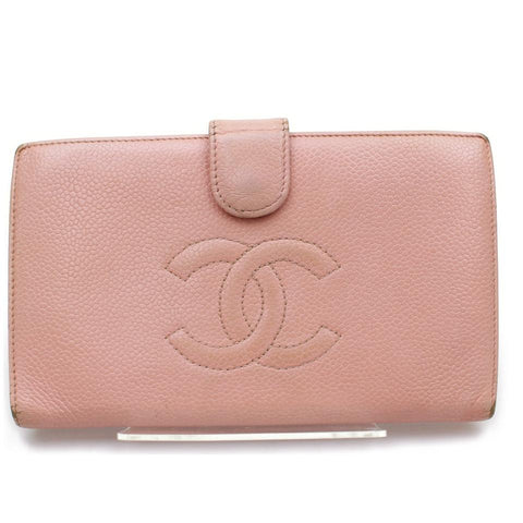 Chanel 858051Pink Caviar Long CC Logo Flap Bifold Wallet