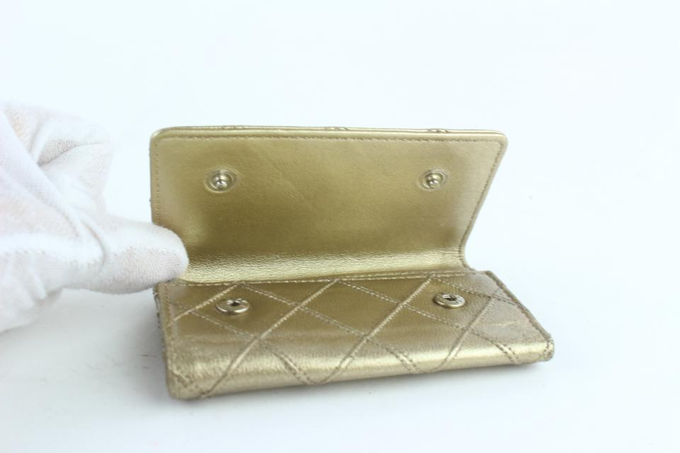 597f13b0c423 Chanel Quilted 6 Key Holder Case 16cz1025 Gold Leather Clutch ...