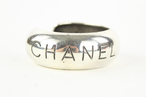 Chanel 96p Paris Silver Tone Bangle Bracelet Cuff 862632