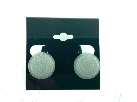 Chanel Quilted Jelly Rubber CC earrings Clear Grey 99s 7c612