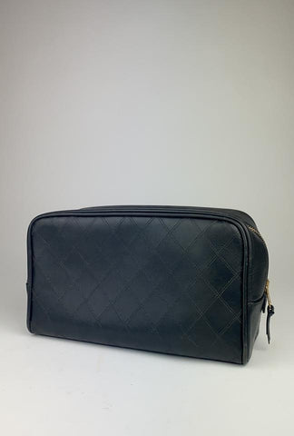 Chanel Black Quilted Lambskin Toiletry Pouch Make Up Case Vanity Tote 860577