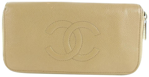 Chanel Beige CC Logo Caviar Zippy Wallet 230857