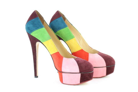 Charlotte Olympia Priscilla In Stripes Suede Platform 1mj101 MULTICOLOUR Pumps