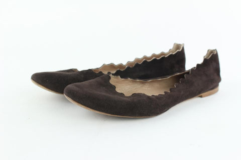 Chloé Brown Lauren Ballerina Suede Scalloped Ballet 9mz1019 Flats