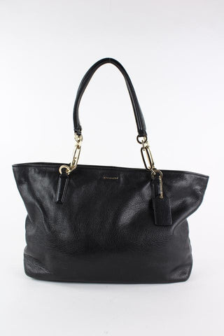 Coach Black Madison Leather East West Chain Tote Bag 21coa1229