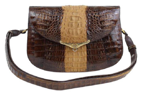 Bicolor Crocodile Flap 11mt915 Chocolate Cross Body Bag